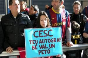 Seltana recibiendo al Barça